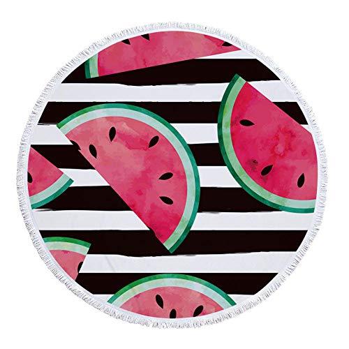 Toalla De Playa Redonda Fruta Gruesa Toallas De Baño Sandía Naranja Microfibra Verano Natación Círculo Estera Toalla con Borlas 550G-Patrón 6_El 150X150Cm ✅