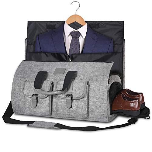 Bolsa Portatrajes Funda de Viaje para Traje Bolso Porta Trajes Ropa Vestidos Carry-On Garment Bag con Compartimentos para Zapatos y Correa Ajustable para Hombro Hombres Mujeres (Gris Claro)