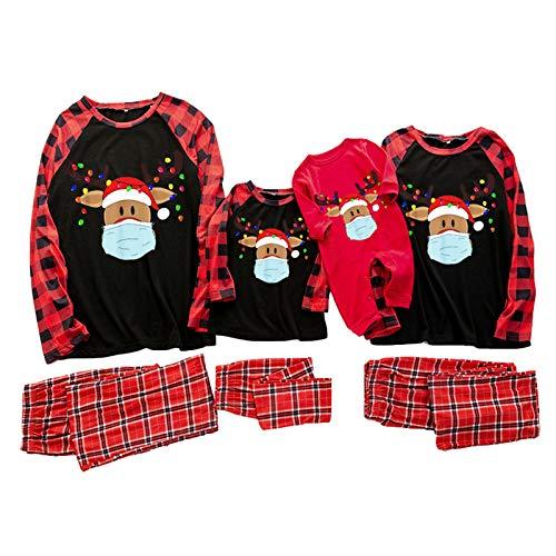 Weihnachten Schlafanzug Familie Pyjama Set Eltern-Kind Familie Set Mama Dad Christmas Outfit Baby Kid Weihnachtsoutfit Weihnachten Nachtwäsche Rot Plaid Patchwork Tops Hose Kleidungs