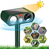 FLAN Ultrasonic Cat Repellent, Solar Waterproof Animal Deterrent, Motion Sensor Farm for Flashing Lights, Foxes, Skunks, Birds