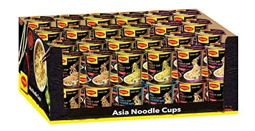 Maggi Magic Asia Noodle Cups, Sortimentsbox, Instant-Nudeln in 6 verschiedenen Geschmacksrichtungen, Leckere Fertiggerichte im praktischen Becher, 48er Pack (48 Becher)