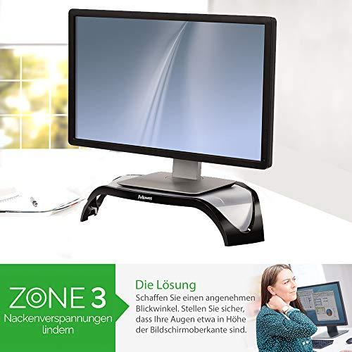 Fellowes Monitorständer Smart Suites, höhenverstellbar, für Monitore bis 21 Zoll, platzsparende dreieckige Form