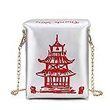 Mdsfe Chinese Takeout Box Tower Print PU Leather Ladies Handbag Novedad Cute Women Girl Shoulder Bag Messenger Bag for Women Totes Bag - Silver