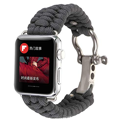 for iWatch 40/44/38/42mm Survival Band, Nylon Rope Wrist Strap with Rugged Outdoor Survival Stainless Steel Shackle and 550 Paracord for Apple Watch Series 4 3 2 1
