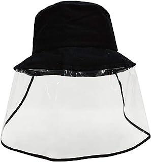davidau Safety Face Shield Visor Mask Anti-Spitting Protective Sun Hat Dustproof Cover Wide Brim Cap Black