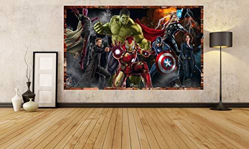 Kids Cartoon The Avengers Battle 3D Smashed Wall Removable Wall Sticker Poster Mural Art UK (70 x 55 cm)