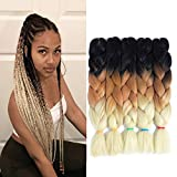 3 Tone Jumbo Braiding Twist Crochet Hair 24 Inches 5Pcs/Lot Synthetic Black Brown and Blonde Colorful Jumbo Box Braids for Crochet Twist Synthetic Hair Extensions (Black-Brown-Beige)