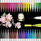Brush Pen Set, 36 Farben Dual Filzstifte mit Tinte Auf Wasserbasis, Aquarell Pinselstifte Für Bullet Journal Handlettering Kalligraphie Marker Manga, Fasermaler [1-2 mm ] und Fineliner [0,4 mm]