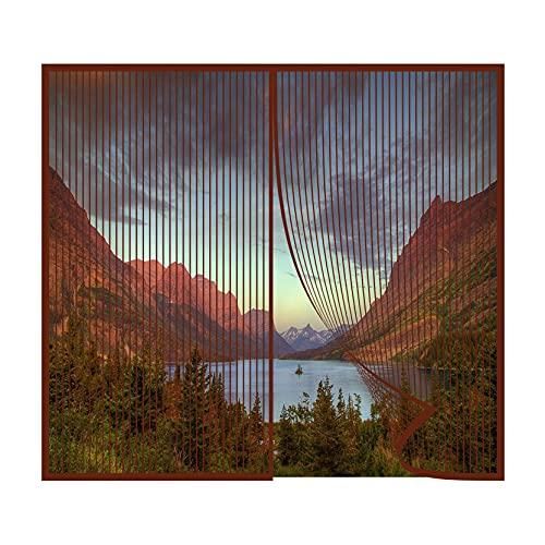 Magnetvorhang 90x100cm Magnetische Adsorption Insektenschutz Magnetvorhang Luft kann frei strömen Ohne Bohren für Fenster verschiedener Größen, Brown