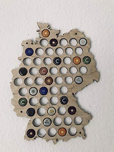 Granatan Deutschland Kronkorken Karte - Geschenk Deutschland-Karte Design - Die Bierkarte Deutschland - Bier Geschenk - Bierkarte aus Holz