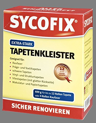 Tapetenkleister Extra-Stark 600 g zur Verklebung von Rauhfaser-,Papier-, Präge-, Struktur-, Vinyl-, Makulatur- und Textiltapeten. Für Bürstenauftrag, Tapeziergeräte und Wandklebetechnik