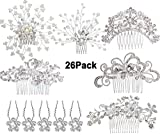 Formemory Set di accessori capelli sposa,6 × pettini per capelli da sposa + 20 × forcine per capelli,fermacapelli per donne sposa matrimonio gioielli per capelli da damigella d'onore (26 pezzi)