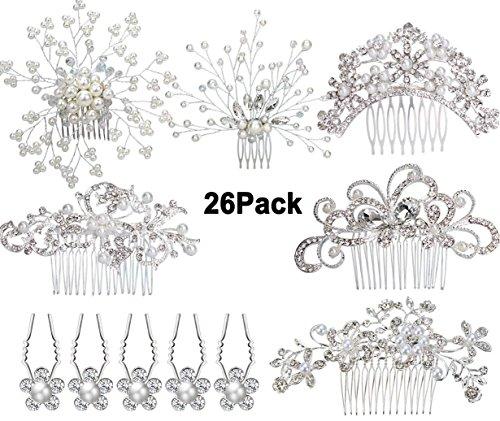 Hochzeit Stirnband mit Ohrringen,Handmade Bridal Perle Kopfschmuck Haarband mit Ohrringen Party Haarschmuck,Haar Curlies aus Perle(Haarschmuck+Ohrringe) (Silber)
