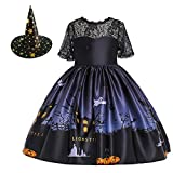 MYRISAM Kids Girls Halloween Costume Dress w/Witch Hat Ghost Pumpkin Skull Printed Fancy Dress Up Cosplay Party Outfits 4-5T Black