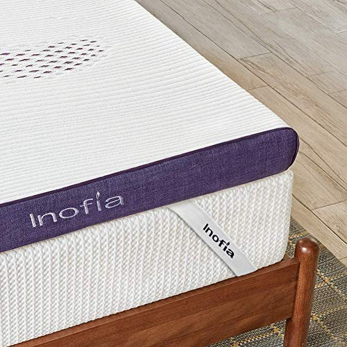 Inofia Gel Memory Foam Mattress Topper Single, 8CM Firmness GELEX Bed Topper with Washable Cover, Pressure Relief | Sleep Cooler, 2 Layer foam topper for Rest Easy, 100-Night Home Trail (90x190)