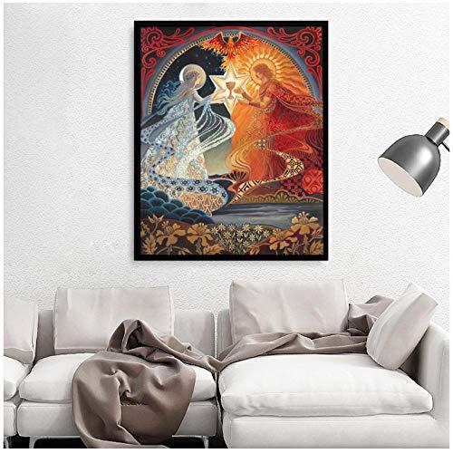 zhaoyangeng Alchemistische heilige trouwkaart Boheemse mythologie Zigeungodin muurkunst druk en foto canvas poster - 50 x 70 cm zonder lijst