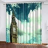 ZHHSJJ Cortinas Opacas Londres Big Ben 2 x 117x229cm(An x Al) Ojales Cocina Salon Dormitorio Moderno Aislante termica Ventana habitacion niño oscurecimiento