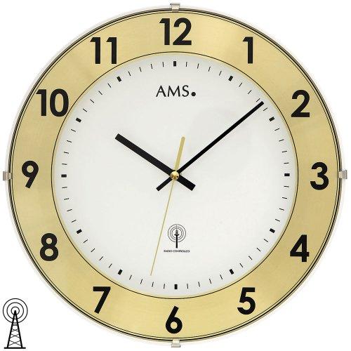 AMS 5947 Wanduhr Funk, Kunststoffgehäuse mit Aluminium-Zahlenring, Mineralglas
