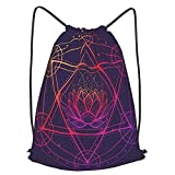 AndrewTop Bolsa Cuerdas con cordón impermeable Unisex,hexagrama con un loto rodeado por un círculo símbolo multicultural que representa,LigeroCasual ,Deporte Gimnasio Mochilas
