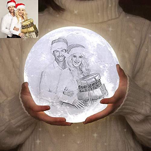 ACED lampara luna 3d personalizada Foto y texto luz de noche, Lámparas universo decorativas de 16 colores, regalos para tu novia originales para cumpleaños Navidad aniversario regalos, 5.9inch