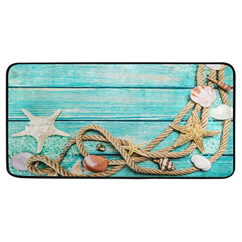 Alfombra de cocina de madera con patrón de concha de mar de verano, alfombra de baño de estrellas de mar de verano, tapete de confort antideslizante para el baño, interior de 39 x 20 pulgadas