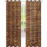 Cortinas opacas con aislamiento térmico, con texto en inglés 'Living in the Countryside Theme' de madera recién cortada, 52 x 95 de ancho para habitación de bebés, color marrón