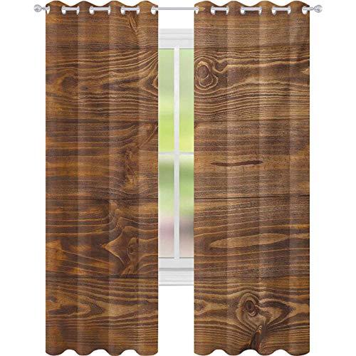 """Cortinas opacas con aislamiento térmico, con texto en inglés """"Living in the Countryside Theme"""" de madera recién cortada, 52 x 95 de ancho para habitación de bebés, color marrón"""