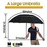 62' Unisex Large Double Golf Rain Umbrella, Portable and Lightweight with Small Folding Length, Rain/Wind Resistant Double Canopy Paraguas Alloy Skeleton Umbrella (Black)