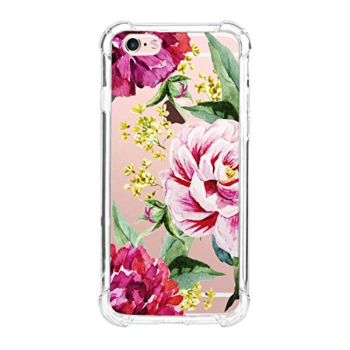 MIXK Clear Case for iPhone 6 iPhone 6S with Rose Pattern Cute Protective Slim Case for Girls Women Floral Silicone Transparent Bumper Cover,B-Rose