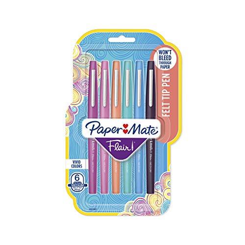 Paper Mate Flair Filzstifte, mittlere Spitze, Limited Edition Candy Pop Pack, 6 Stück (1979425)