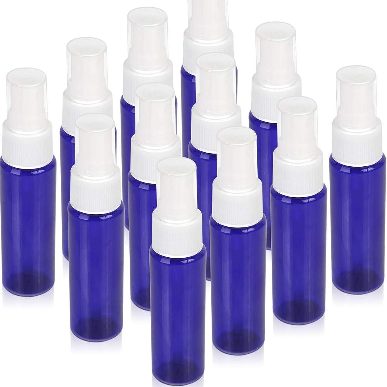 美容師反対ティッシュTeenitor スプレーボトル 30ml 12本 霧吹き アトマイザー スプレー容器 アロマスプレー 香水スプレー 詰め替え容器 キャップ付 青色 PET製