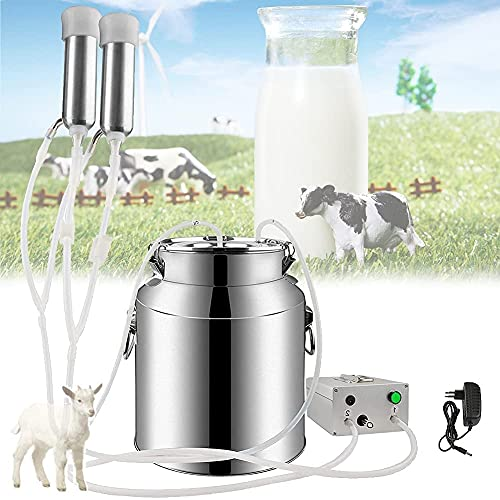 FCPLLTR Máquina de ordeño eléctrica para Cabras de Vaca, máquinas de Leche de Cabra automática con Goma del pezón es la Elasticidad Flexible (10L, Leche), Caw Pulse ~ Pulse in