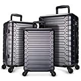 SHOWKOO Hardside Luggage Sets Expandable Suitcase Set ABS Lightweight Durable Spinner Wheels with TSA Lock,Gray,3-Piece Set(20/24/28)