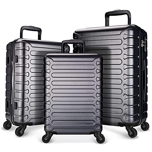 SHOWKOO Luggage Travel Expandable Clearance Suitcases Hardshell Lightweight Durable Spinner Wheels with TSA Lock,Grey,3-Piece Set(20/24/28)