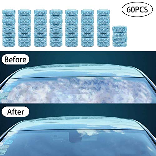 N/ QingZe 60 Windscreen Wash Tablets Car Effervescent Tablets Multifunctional Cleaning Concentrated Effervescent Tablets Cleaning Tablets Screen Cleaner (Equivalent To 240L)
