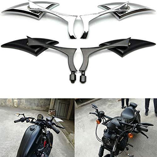 Universal Aluminium Klinge Motorrad Rückspiegel Silverado Endspiegel Rückansicht Für Harley Cruiser Bobber Chopper (Chrom)