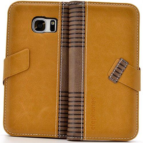 elephones Schutzhülle kompatibel mit Samsung Galaxy S7 Edge Hülle Handyhülle Handy-Tasche Wallet Case Cover Braun