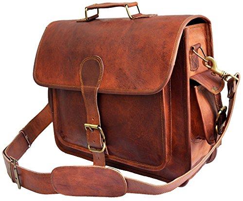 40 Cm Bolso Bandolera Laptop Bag Bolsa De Hombro Cuerpo Cruzado Grande para Mensajero Mensajeria De Cuero Piel Marron Portatil Notebook Bag College Office Hombre Y Mujer Leather Messenger Bag