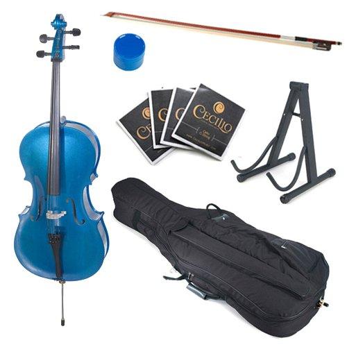 Cecilio 4/4 CCO-Blue Student Cello Outfit in Metallic Blue (Full Size)