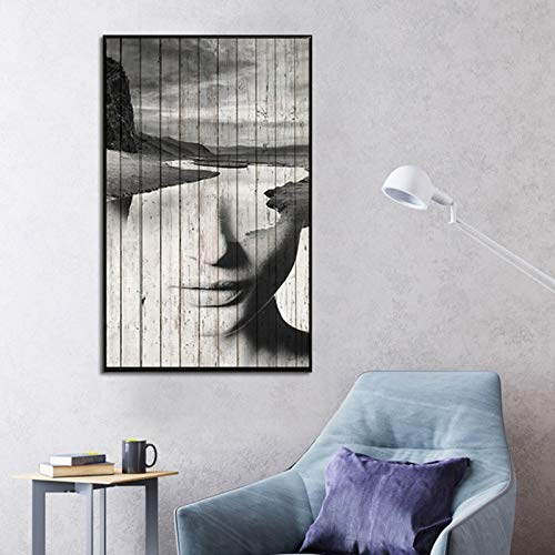 KWzEQ Kostenlose Street Art Frauen Wohnzimmer Wandbild Moderne Drucke und Poster auf Leinwand auf Boot,Rahmenlose Malerei,80X120cm