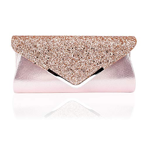 Damen Clutch Glitzer Elegant Handtasche Abendtasche Unterarmtasche Umhängetasche mit Strass-Steinen und Abnehmbarer Kette in den Farben für Bankett Hochzeit Tanzparty Pink