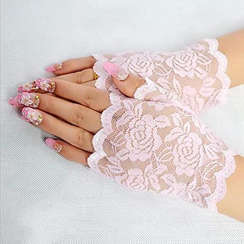 Modis Guantes largos sin dedos de encaje para mujer, guantes de malla de medio dedo, guantes elegantes