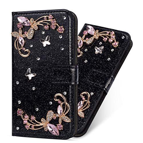 Miagon Hülle Glitzer für Samsung Galaxy A50,Luxus Diamant Strass Blume PU Leder Handyhülle Ständer Funktion Schutzhülle Brieftasche Cover,Schwarz