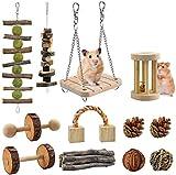 Wonninek Hamster Jouets à mâcher 12 pcs Pin en Bois Naturel Cochons d'Inde Rats Chinchillas Jouets Accessoires Convient aux Lapins Gerbilles Petits Animaux Accessoires Mâcher