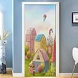 Pegatinas de puerta 3D Etiqueta engomada de la puerta de la casa de dibujos animados lindo papel tapiz mural autoadhesivo extraíble impermeable etiqueta de la puerta decoración del hogar77x200cm