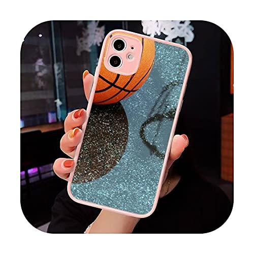 Baloncesto llama fuego Color teléfono caso mate transparente para iPhone 7 8 11 12 s Mini pro X XS XR MAX Plus cubierta funda-a6-iPhone12