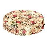 Hule mesa mantel de hule lavable oldtime rosas en beige redondo 100cm, toalla, multicolor, Rund 140cm