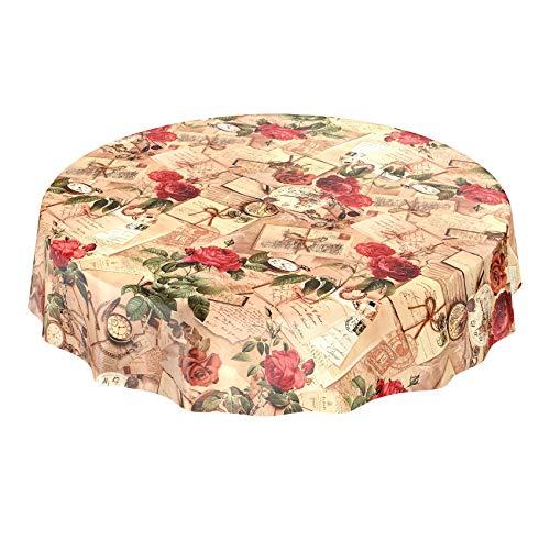 Anro Nappe de table en toile cirée Motif de maison de campagne avec roses et lettres, Plastique, Bord de coupe, Rund 140cm