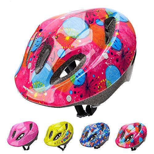 meteor Casco Bici ideale per bambini e adolescenti Caschi perfetto per Downhill Ciclismo MTB Scooter Helmet Ideale per Tutte Le Forme di attività in Bicicletta (M (52-56 cm), KS05 PINK ABSTRACT)