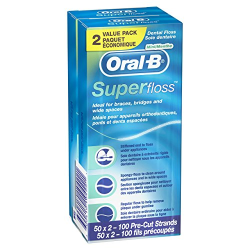 Oral-B Super Floss Pre-Cut Strands, Mint, 50 Count, Pack of 2